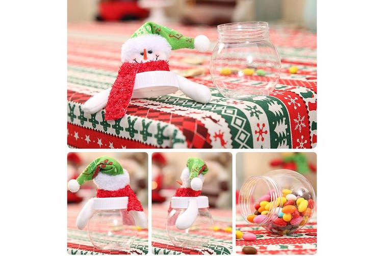 3/6PCS Christmas Candy Sealed Cans Box Sugar Bottle Jar Storage Xmas Home Décor - 3x Round Cans