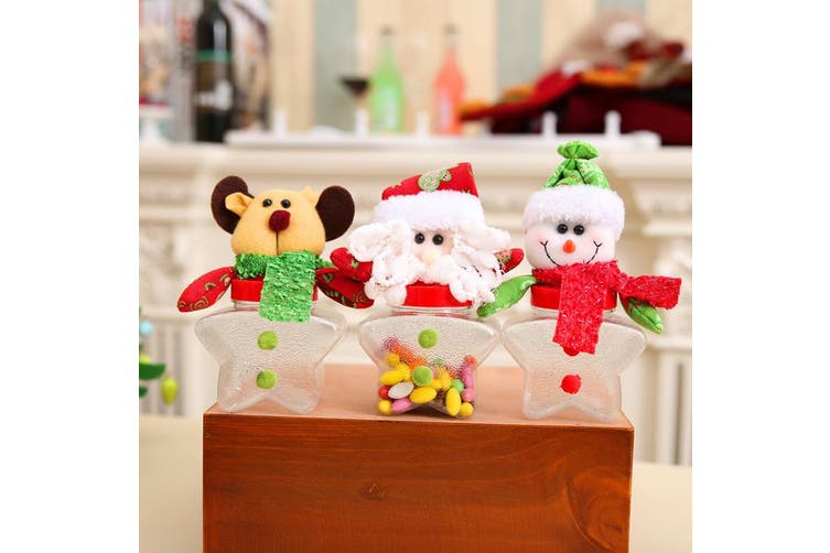 3/6PCS Christmas Candy Sealed Cans Box Sugar Bottle Jar Storage Xmas Home Décor - 3x Star Cans