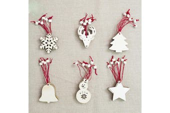 6x Christmas Wooden Tree Hanging Ornaments Blank Painting Gift Xmas Home Décor