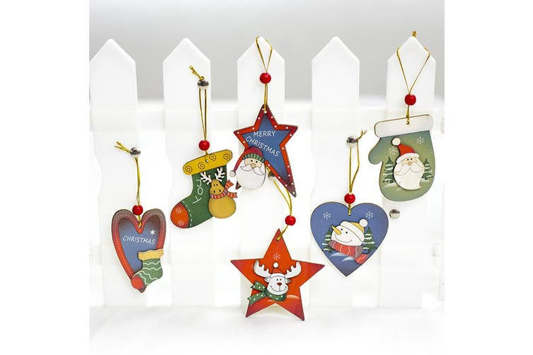 6x Christmas Wooden Tree Hanging Ornament Decoration Xmas Home Party Décor Gift