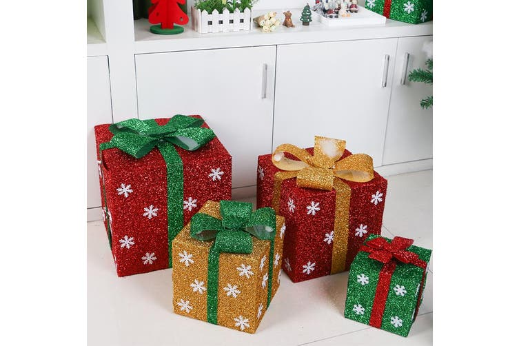 Christmas PVC Gift Candy Box Wedding Cookies Dessert Cake Xmas Decoration Cube - Gold (Size:S (15cm))