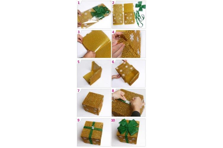 Christmas PVC Gift Candy Box Wedding Cookies Dessert Cake Xmas Decoration Cube - Gold (Size:XL (30cm))