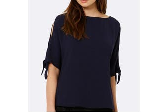 Women Cold Shoulder Shirt Tops Summer Casual Loose Blouse Ladies Tee Party Dress - Navy (Size:2XL)