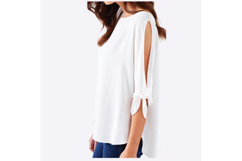 Women Cold Shoulder Shirt Tops Summer Casual Loose Blouse Ladies Tee Party Dress - White (Size:M)