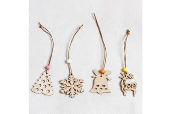 4x Christmas Tree Pendant Wooden Ornaments Home Xmas Party Hanging Décor Craft