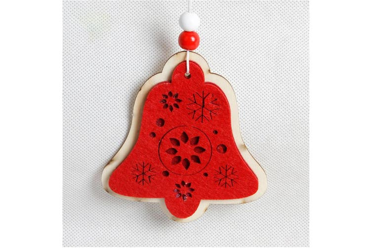5x Christmas Red Tree Pendant Wooden Ornaments Xmas Party Hanging Décor Craft - Bells