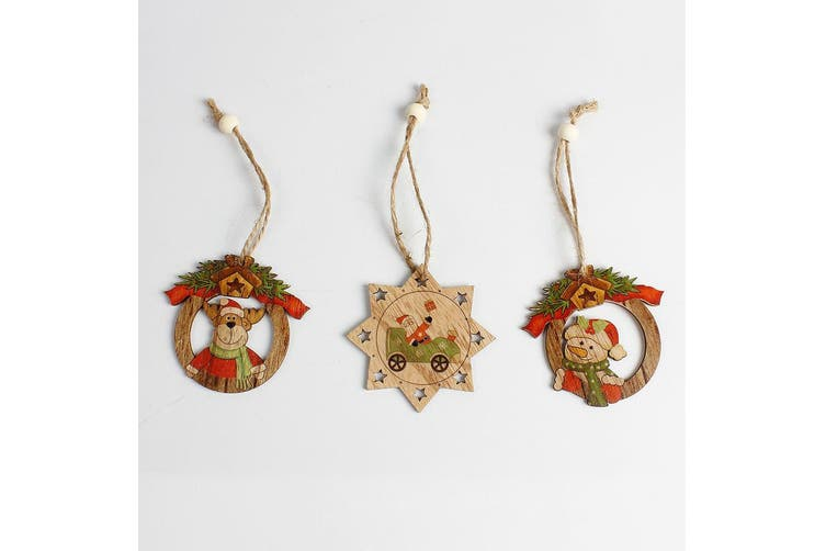 3x Christmas Natural Wooden Tree Pendant Hanging Ornaments Xmas Home Party Décor