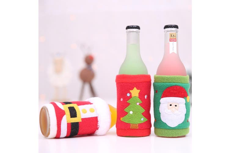 6x Christmas Beer Bottle Can Drink Alcohol Holder Cooler Cover Xmas Santa Stubby
