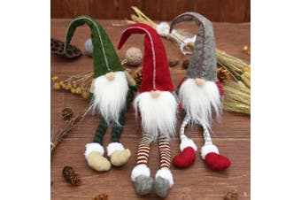 3x Christmas Faceless Doll Santa Long Leg Plush Ornament Xmas Décor Kid Toy Gift