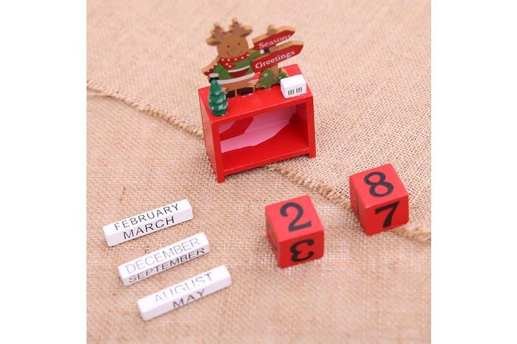 Christmas Wooden Advent Block Countdown Calendar Days Xmas Table Décor Ornament - Snowman