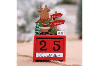 Christmas Wooden Advent Block Countdown Calendar Days Xmas Table Décor Ornament - Reindeer