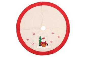 105cm Christmas Premium Plush Velvet Tree Skirt Xmas Floor Carpet Mat Decoration - Beige