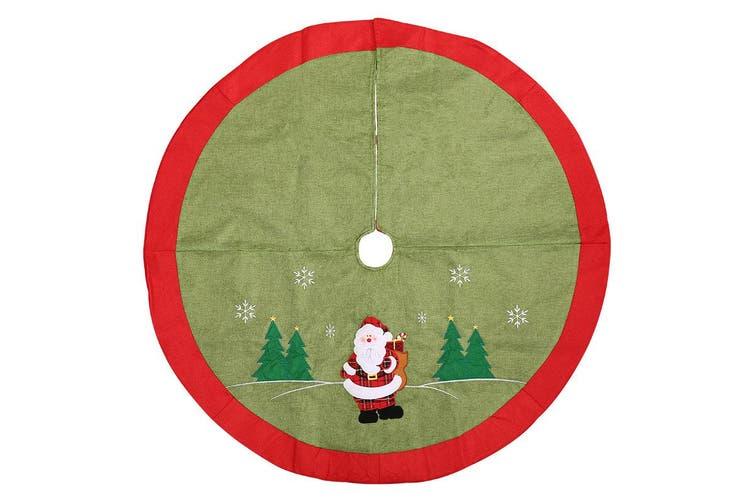 105cm Christmas Premium Plush Velvet Tree Skirt Xmas Floor Carpet Mat Decoration - Green