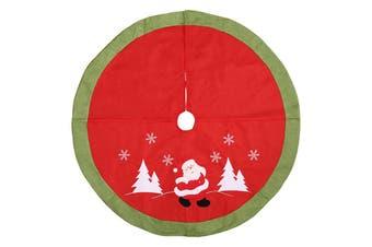 105cm Christmas Premium Plush Velvet Tree Skirt Xmas Floor Carpet Mat Decoration - Red