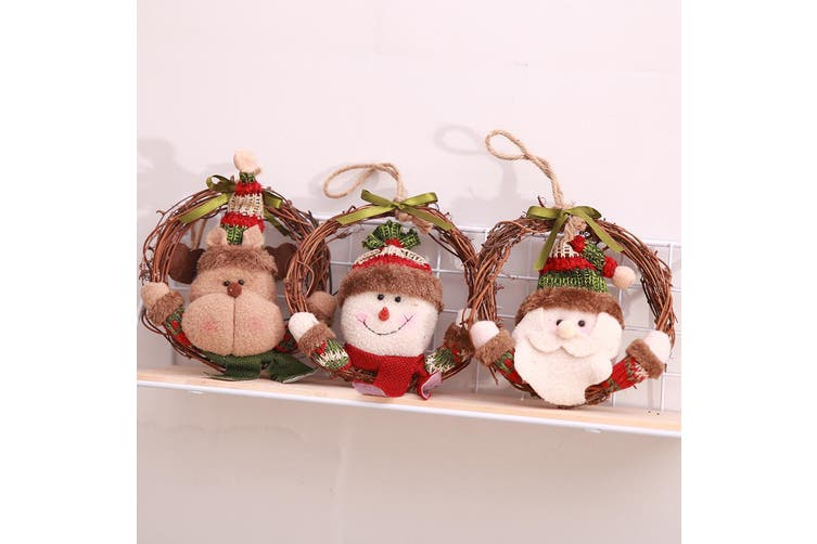 3x Christmas Tree Door Wall Hanging Wooden Wreath Garland Xmas Decor Ornament