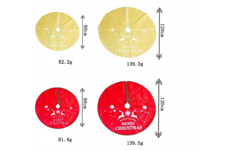 "90/120cm Premium Tree Skirt Reindeer Elk Merry Christmas Xmas Floor Decoration - Gold (Size:90cm (35.4""))"