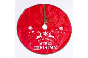"90/120cm Premium Tree Skirt Reindeer Elk Merry Christmas Xmas Floor Decoration - Red (Size:90cm (35.4""))"