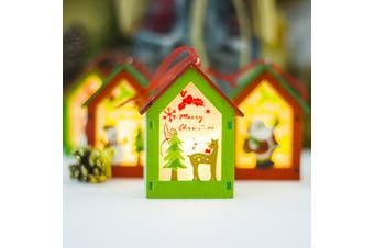 3x Christmas Wooden Tree LED Light Up House Lamp Lantern Hanging Ornaments Décor - 3x Reindeers