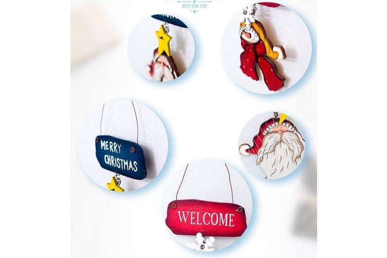 Christmas Wooden Tree Door Wall Hanging Plaque Sign Pendant Ornament Decoration - Santa
