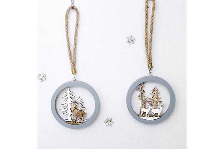 2x Christmas Wooden Reindeer Elk Tree Wall Door Hanging Decoration Xmas Ornament