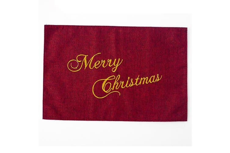 2x Christmas Hessian Burlap Linen Place Mats Dinner Table Ware Runner Xmas Decor - Burgundy