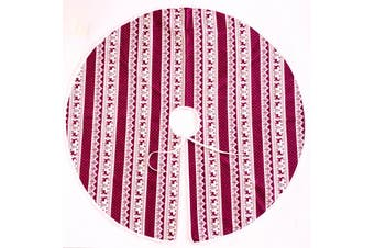 120cm Christmas Tree Skirt Xmas Mat Cover Decoration Ornament Floor Reindeer Elk - Red