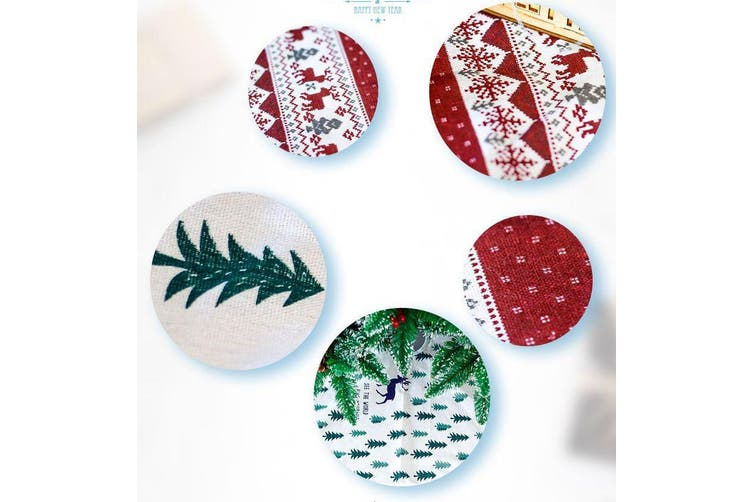 120cm Christmas Tree Skirt Xmas Mat Cover Decoration Ornament Floor Reindeer Elk - White