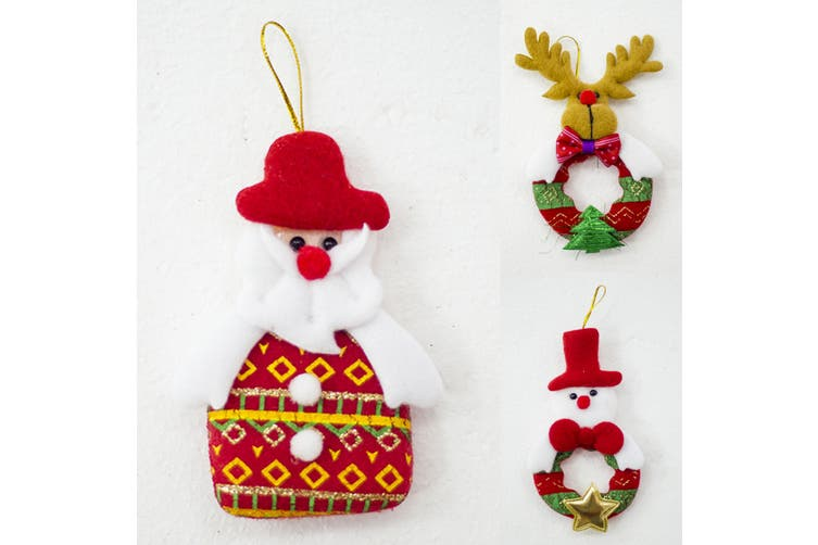 10x Christmas Tree Pendant Hanging Ornaments Xmas Home Décor Santa Kids Gift Toy - Mixed Design A