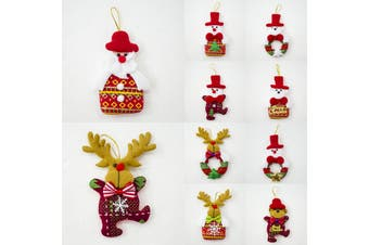 10x Christmas Tree Pendant Hanging Ornaments Xmas Home Décor Santa Kids Gift Toy - Mixed Design B