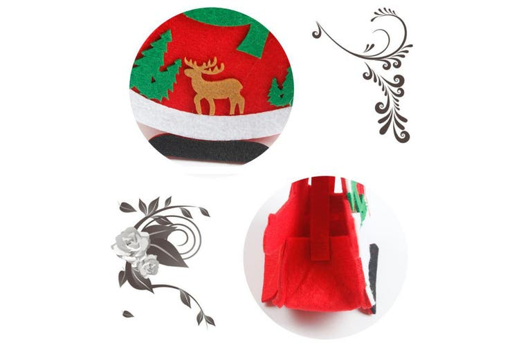 6/12PCS Christmas Felt Treat Candy Bag Tray Box Santa Xmas Pouch Kids Gift Wrap - Christmas Hugs (6PCS)