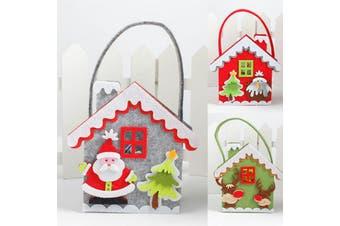6/12PCS Christmas Felt Treat Candy Bag Tray Box Santa Xmas Pouch Kids Gift Wrap - Houses (6PCS)