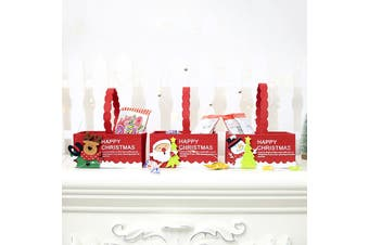 6/12PCS Christmas Felt Treat Candy Bag Tray Box Santa Xmas Pouch Kids Gift Wrap - Trays (6PCS)