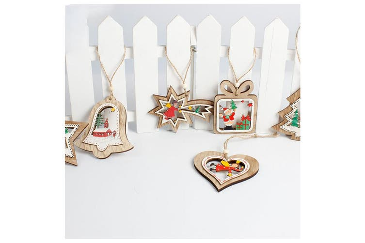 6x Christmas Natural Wooden Tree Hanging Ornaments Xmas Decoration Santa Gift