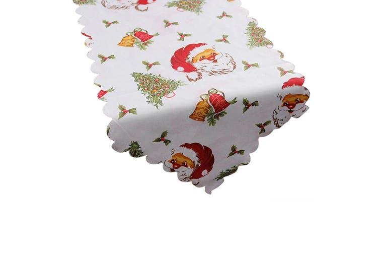 Christmas Damask Fabric Table Runner Xmas Tablecloth Cover Decoration 180x36cm - Santa