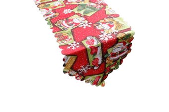 Christmas Damask Fabric Table Runner Xmas Tablecloth Cover Decoration 180x36cm - Santa w Hat
