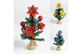 3x Christmas Mini Trees w Burlap Pot Cover Artificial Plant Xmas Ornaments Decor
