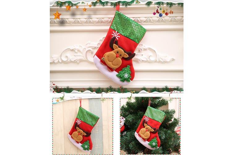 4x 25cm Christmas Stocking Felt Socks Gift Bag Santa Tree Wall Hanging Ornaments