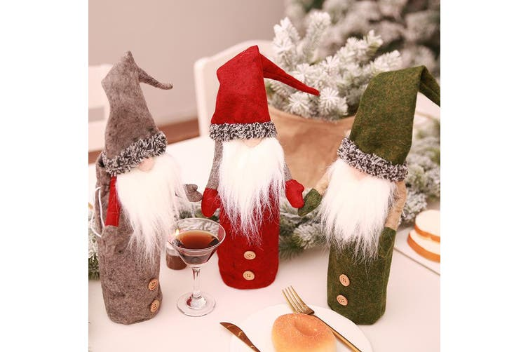 3x Christmas Beer Bottle Wine Cover Drink Gift Bag Wrap Red Faceless Santa Party