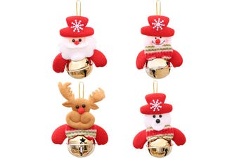 4x Christmas Plush Ornaments w Bell Xmas Tree Wall Door Hanging Party Decoration - Gold Bells