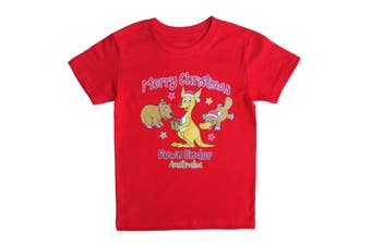 New Kids Christmas Xmas T Shirt Tee Tops 100% Cotton Boys Girls Gift Red White - Kangaroo (Red) (Size:4/S-M (For age 3-5))