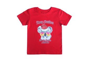 New Funny Adult Xmas Christmas T Shirt Tee Mens Womens 100% Cotton Jolly Ugly - Koala Sunglass (Red) (Size:2XL)