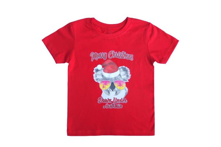 New Funny Unisex Xmas Christmas T shirt Tee Adult Kids Mens Womens Boys Santa - Koala Sunglass (Red) (Size:S)