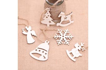 6x Christmas Wooden Tree Hanging Pendant Ornament Xmas Decoration Snowflake Gift