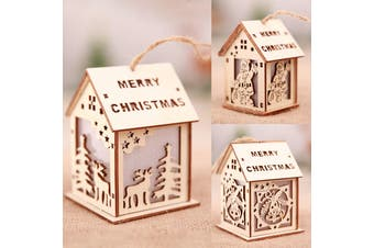 3-5x Christmas Wooden LED Light Up House Chalet Tree Hanging Ornament Decoration (Size:S (3PCS))