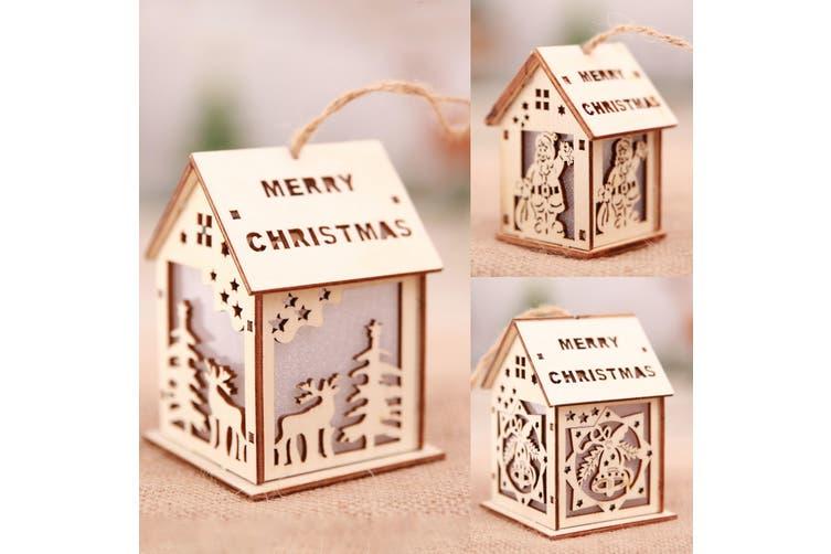 3-5x Christmas Wooden LED Light Up House Chalet Tree Hanging Ornament Decoration (Size:M (3PCS))