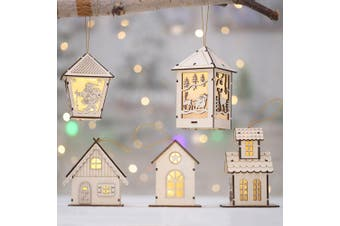 3-5x Christmas Wooden LED Light Up House Chalet Tree Hanging Ornament Decoration (Size:L (5PCS))