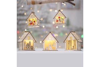 3-5x Christmas Wooden LED Light Up House Chalet Tree Hanging Ornament Decoration (Size:XL (5PCS))