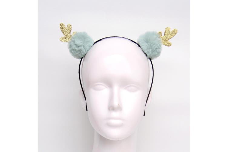 Christmas Xmas Headband Hat Costume Hair Clip Bear Snowman Gift Adult Kids Toys - Gold Antlers w Balls (Teal)