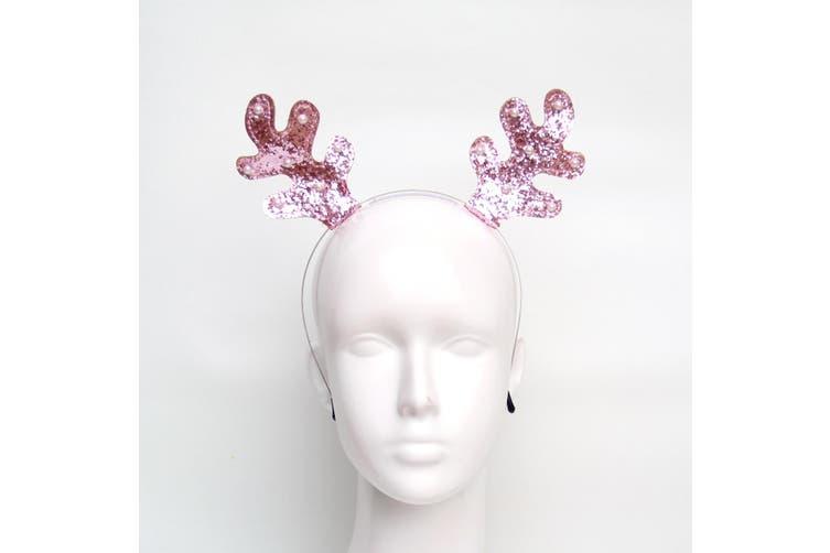 Christmas Xmas Headband Hat Costume Hair Clip Bear Snowman Gift Adult Kids Toys - Reindeer Antlers (Pink)