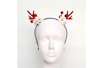 Christmas Xmas Headband Hat Costume Hair Clip Bear Snowman Gift Adult Kids Toys - Reindeer Antlers w Flowers (Brown)